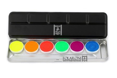Paleta farbek neonowych wodnych (8g) 6 kol.- Watercolor Palette Fluo